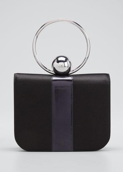 Celeste Satin & Leather Top-Handle Bag