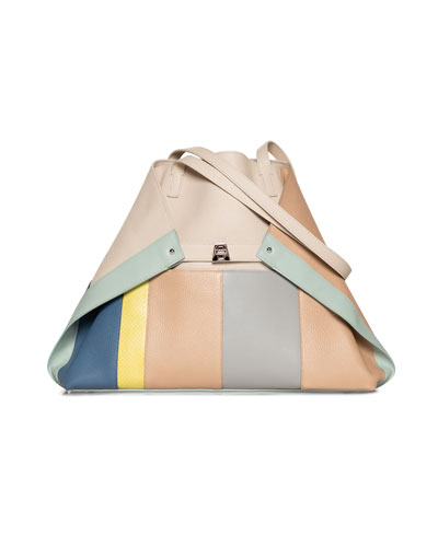 Ai Medium Colorblock Patchwork Tote Bag