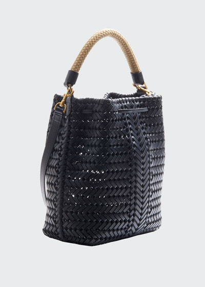 The Neeson Small Leather Drawstring Bucket Bag