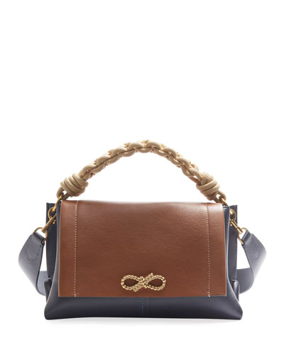 Rope Bow Bag in Soft Leather with Natural Smooth Rope