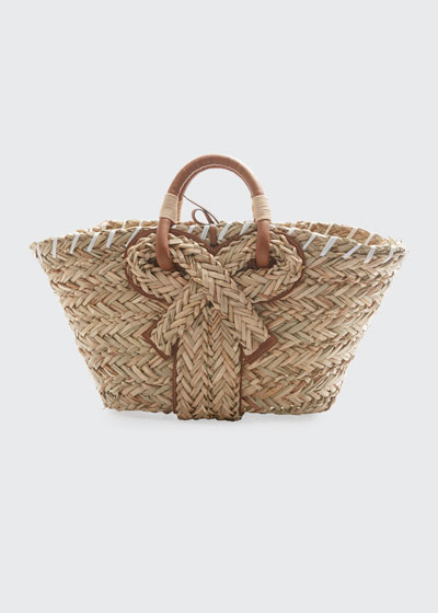 Small Basket Bow Tote Bag in Natural Seagrass
