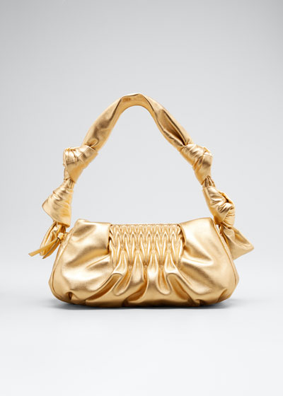 Matelasse Degrade Metallic Knotted Clutch Bag
