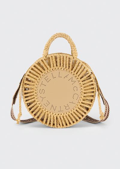 Round Woven Raffia Shoulder Bag