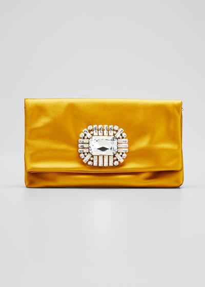 Titania Jeweled Satin Clutch Bag, Yellow