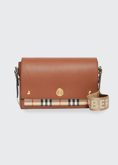 Note Medium Vintage Check & Leather Crossbody Bag with Logo Web Strap