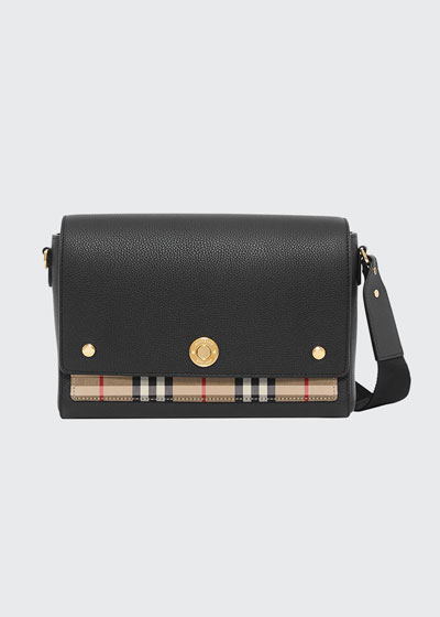 Note Medium Leather & Vintage Check Crossbody Bag