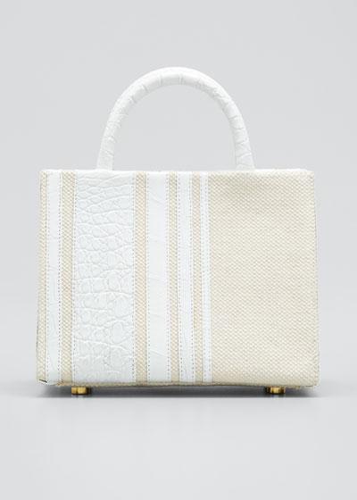 Emma Mini Stripe Crocodile Tote Bag