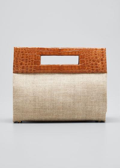 Linen/Crocodile Keyhole-Handle Bag