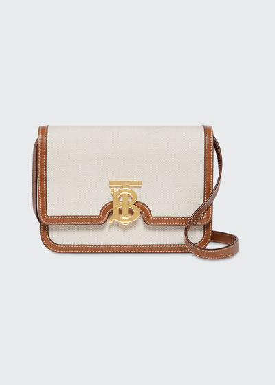 Small Bicolor Canvas TB Crossbody Bag
