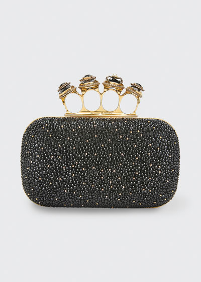 Shimmery Stud Four-Ring Clutch
