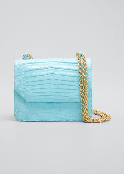 Small Square Crocodile Double-Chain Shoulder Bag