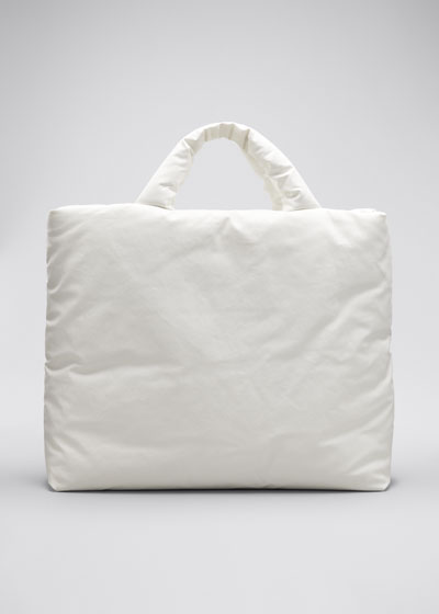 Large Oil-Coated Canvas Shopper Tote Bag, White