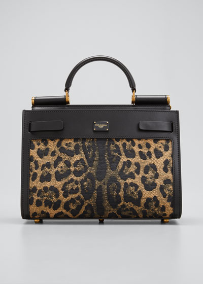 Sicily Leopard Top-Handle Bag