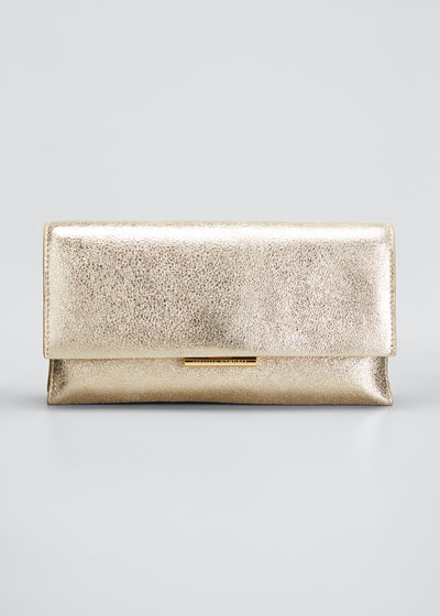 Tab Metallic Leather Clutch Bag