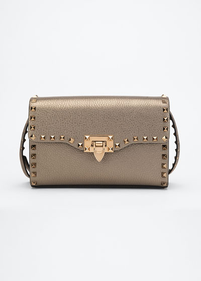 Rockstud Small Metallic Leather Shoulder Bag