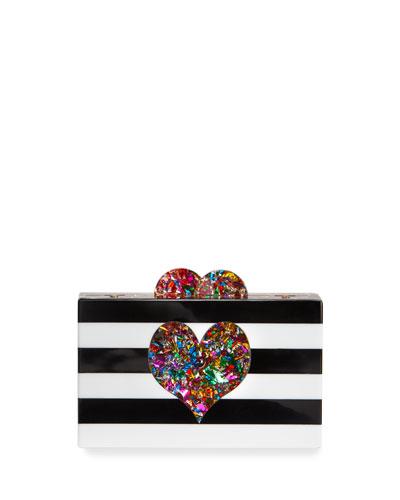 Girls' Hearts Acrylic Box Clutch Bag