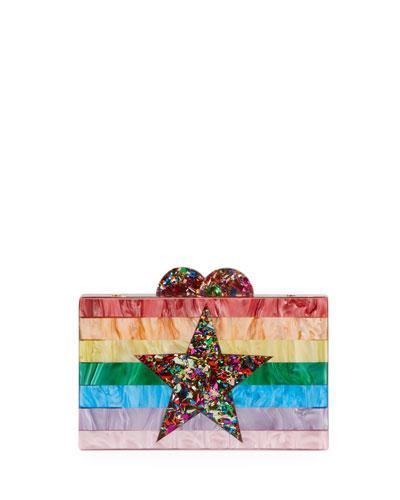 Girl's Rainbow Star Box Clutch Bag