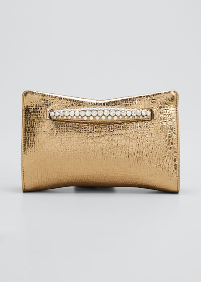 Venus Metallic Leather Clutch