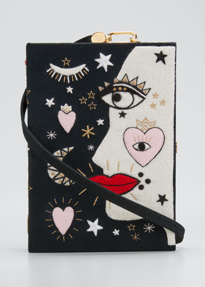 x Ana Strumpf Face Book Clutch Bag with Strap