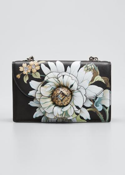 Tro Iris & Daisy Printed Shoulder Clutch Bag