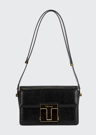Lizard-Print T Clasp Shoulder Bag