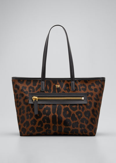 Medium Leopard-Print Zip Tote Bag