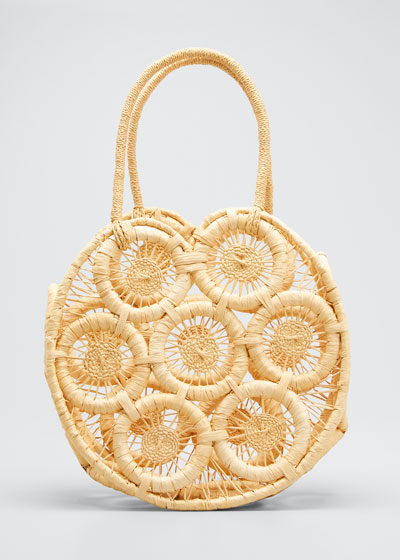 Round Straw Top Handle Tote Bag