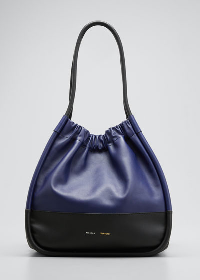 XL Ruched Bicolor Tote Bag