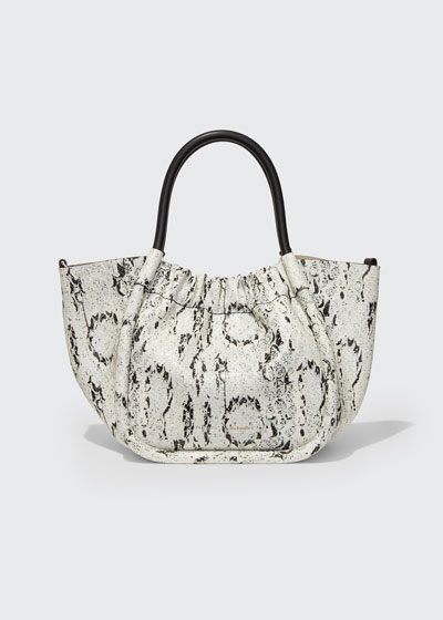 Small Snake-Print Ruched Tote Bag