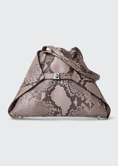 AI Small Soft Python Shoulder Tote Bag