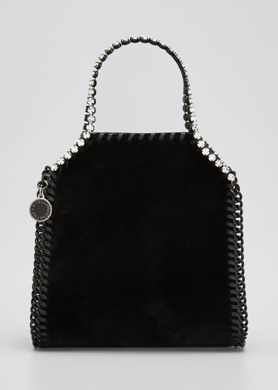 Falabella Tiny Velvet Chain Tote Bag with Crystal Trim