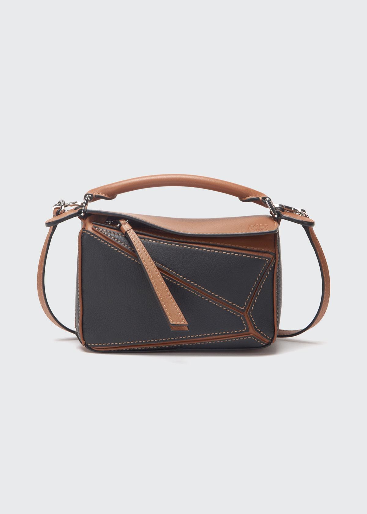 Loewe Puzzle Bicolor Mini Satchel Bag In Black/brown