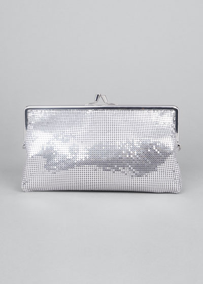 Metallic Aluminum Kiss-Lock Clutch Bag