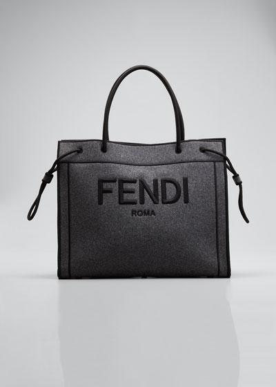 Roma Large Melange Flannel Shopper Tote Bag
