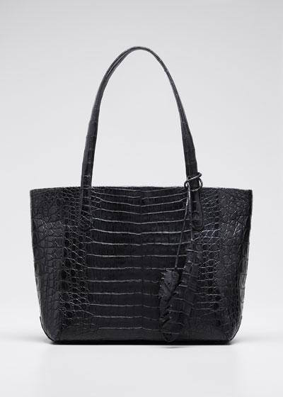 Erica Small Crocodile Zip-Top Leaf Tote Bag