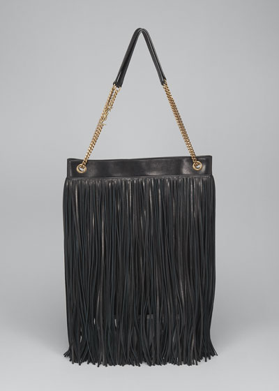 Grace Large YSL Leather Fringe Hobo Bag