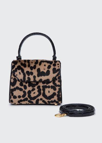 Lily Mini Shaved Shearling Fur & Crocodile Top-Handle Bag