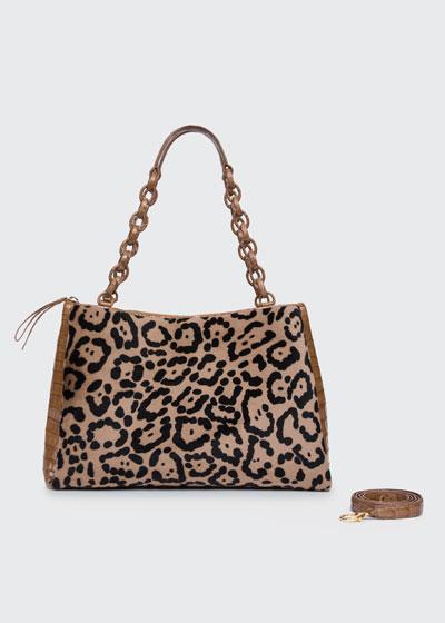 Miranda Large Shaved Shearling Fur & Crocodile Shoulder Bag