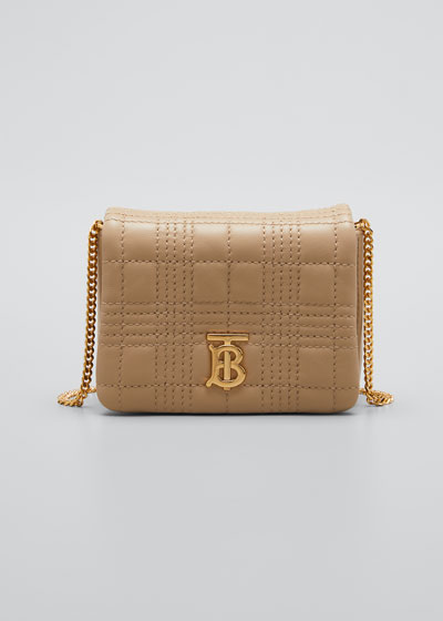 Lola Square Quilted Shoulder Bag, Beige