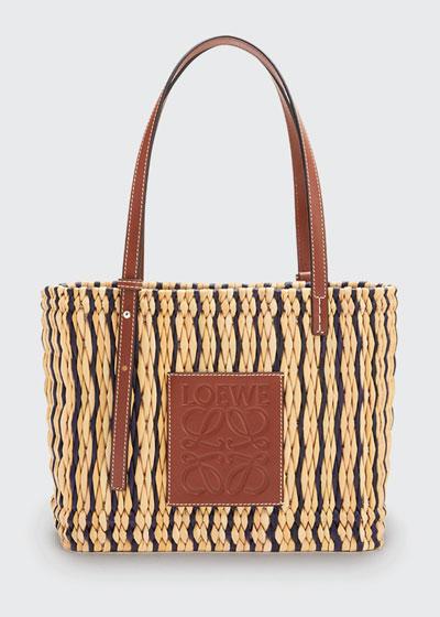 x Paula's Ibiza Square Reed Basket Tote Bag