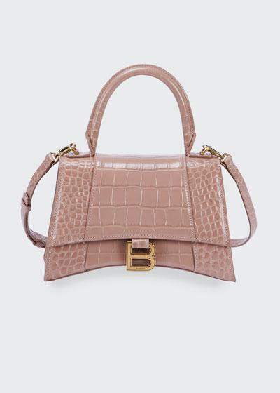 Hour Small Croc-Embossed Top-Handle Bag