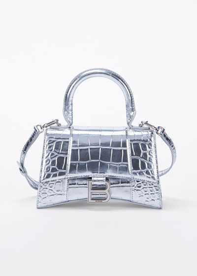 Hour XS Metallic Croc-Embossed Top-Handle Bag