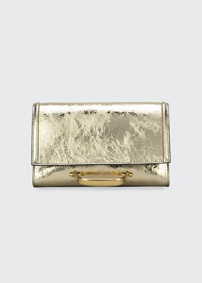 The New Story Small Metallic Leather Clutch Bag