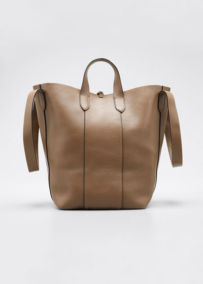 Small Mixed Leather Convertible Strap Tote Bag