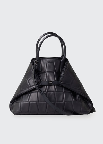 Ai Medium Quilted Trapezoid Tote Bag