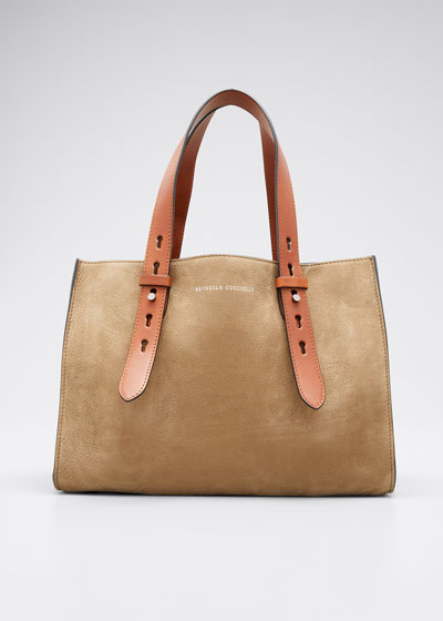 Medium Adjustable Nubuck Shopper Tote Bag