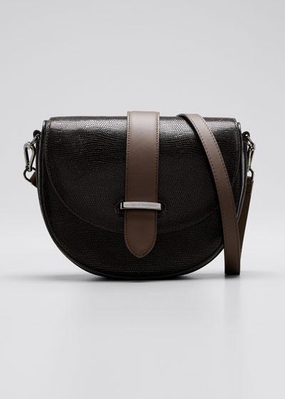 Lizard-Embossed Leather Half-Moon Crossbody Bag