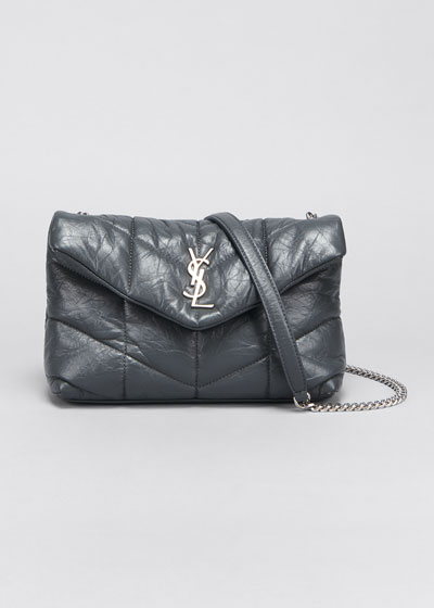 LouLou Toy YSL Puffer Quilted Matte Leather Crossbody Bag