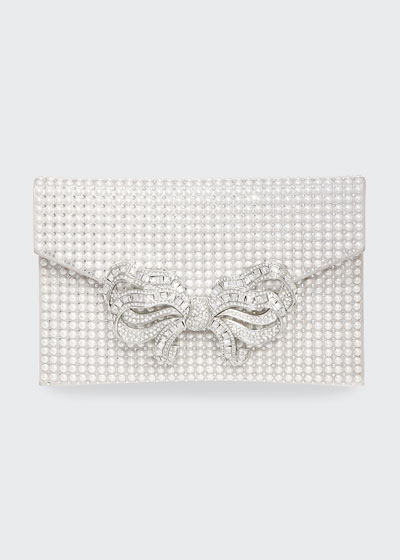 Crystal Bow Pearly Envelope Clutch Bag