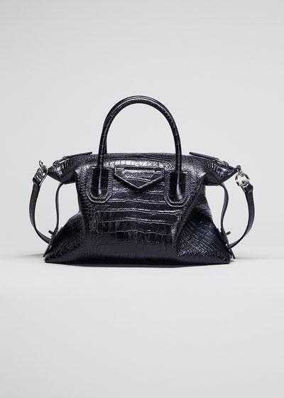 Croc-Embossed Antigona Soft Small Bag